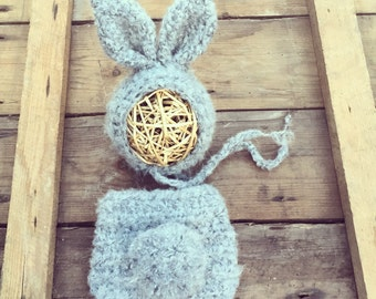 Mohair Baby bunny bonnet crochet hat and matching pom pom tail nappy/diaper cover. Newborn. Great photo photography prop.