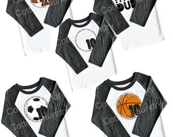Double Digits birthday shirt for boys tee shirt Baksetball, Soccer Ball, Football, Happy 10th Birthday Boys tee shirt