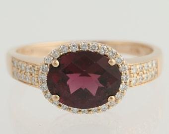 Raspberry Rhodolite Garnet & Diamond Ring - 14k Rose Gold Fine 3.10ctw L8272