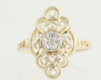 Diamond-Accented Ring - 10k Yellow & White Gold Open Cut Women's .02ctw L9001
