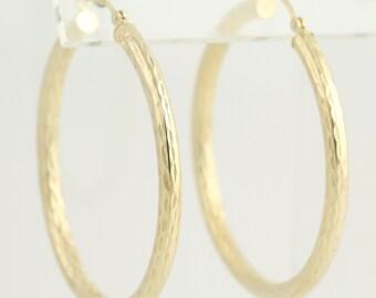 Textured Hoop Earrings - 14k Yellow Gold Pierced N539