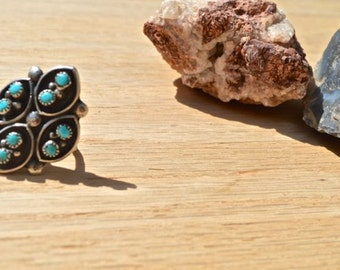 Turquoise Gypsy Ring, Size 6, Silver, Native American, Southwest Jewelry, Ring, Santa Fe, New Mexico, Handmade