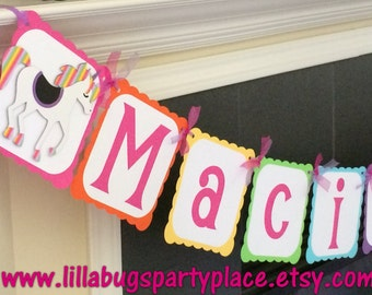 Unicorn Personalized Name and Age Banner