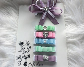 Belle's Bows.Girls set of six hair bows.pastel hair bows. Girls hair accessories. Hair bows. Silver glitter bow. Pink bows. Mint bows.gift