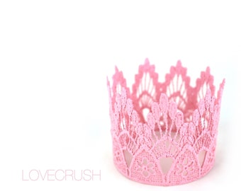 Pink lace crown || Sienna || princess crown ||headband option|| photography prop ||WASHABLE