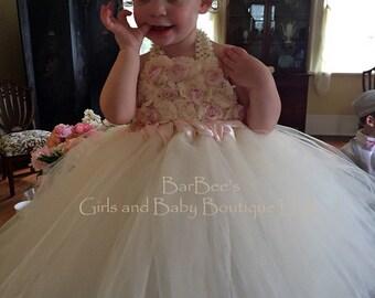 Flower Girl Dress  Ivory and Blush Pink Vintage Look Flower Girl Tutu Dress.  Wedding, Birthday Tutu Dress