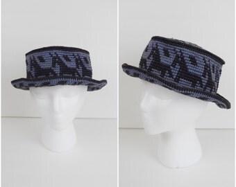 Vintage 90s purple and black crocheted panama hat / horse pattern bucket hat