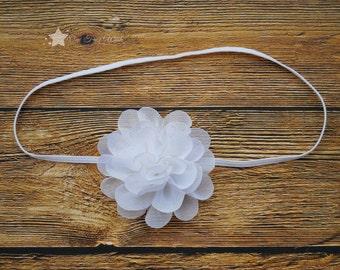 White headband, baby elastic headband, baby headband, infant headband, newborn headband, elastic headband, baby girl headband, hair clip