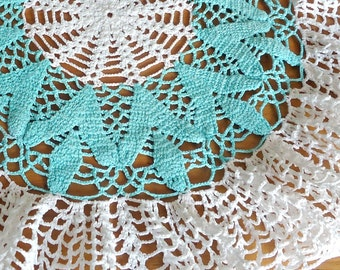 Vintage Doily Crocheted Doily Green Lagoon & White  Doilies  D22