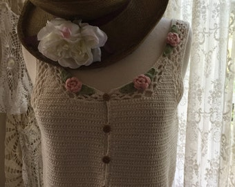 Adorable knitted or crocheted sweater vest hippie chic boho pink roses medium