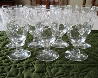 7 Vintage Fostoria Crystal Mid Century Small Wine/Juice Glasses Spinet Pattern Circa 1950