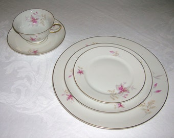 Vintage Rosenthal Continental China Orchid Aida Pattern 5 Piece Place Setting Circa 1950