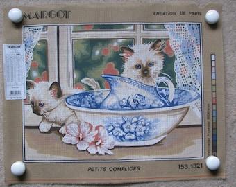 Margot Needlepoint/Tapestry Canvas Siamese Kittens