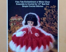 """20%OFF Fibre Fiber Craft LITTLE RED Riding Hood Fairy Tale 13"""" Bed Doll - Crochet Doll Dress Clothes Clothing Pattern"""
