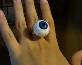 Blue eyeball ring