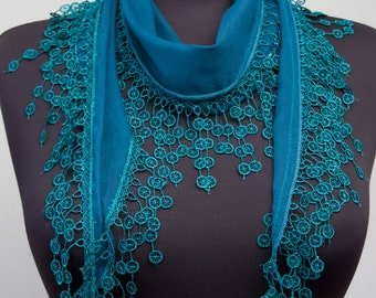 Fringed lace scarf ,triangle lace scarf , guipure scarf, flowered ,woman scarf, Plain , Teal