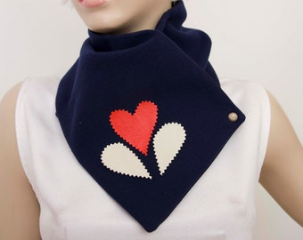NECKWARMER with snaps , scarf ,winter scarf  navy color