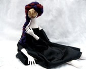 OOAK art doll with mask, Soft Sculpture, jointed, handmade, handpainted,  cloth doll with deep teal, elegant, handsewn  dress
