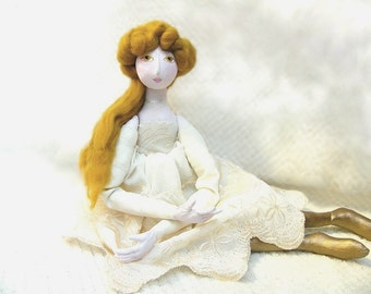 20% OF SALE! OOAK  art doll Handmade Soft Sculpture Fabric Art Doll gold  handsewn handpainted romantic summer cloth doll princess