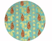 Mouse Pad - Round Fabric mousepad - Paisley in Turquoise, Gold and Brown - Home office / computer / Electronic