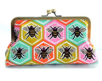 Clutch - Bees and Polka dots in pink, seafoam, brown and orange - Brass kisslock frame