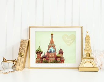 From Russia With Love. Fine Art Photography. Moscow Art Print. St. Basil's Cathedral. Tangerine Orange. Home Décor. Wall Art. Travel Print