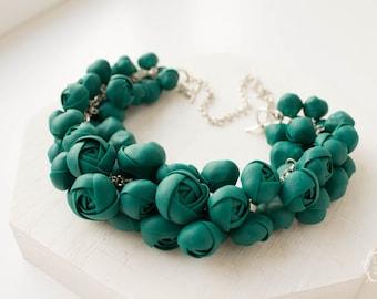 Green Bib Necklace Flower Floral Women Polymer Clay Chunky Statement Necklace Birthday Wedding Bridal Valentine Gifts