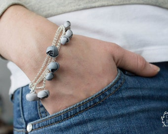 Silver Bracelet Chains flowers ranunculus hand decoration women accessory wedding bridal birthday gifts
