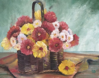 Vintage Original Floral Still Life Fresh Flowers in a Basket