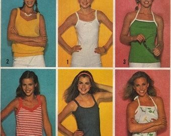 Casual Summer Tank Tops Camisoles  -  1970's Retro Women's Fashion  - Size 12-14-16  - UNCUT - Sewing Pattern Simplicity 9035