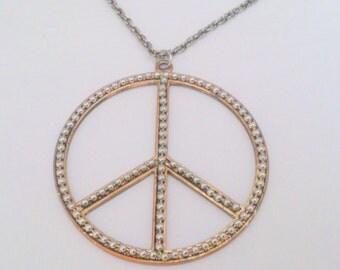 Vintage Peace Symbol Pendant Necklace