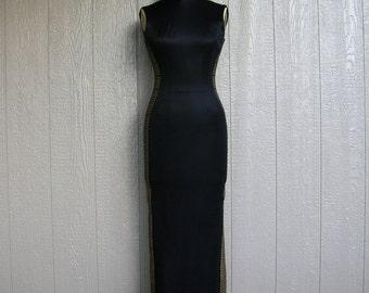 Vintage 70s GOLDEN GRECIAN GODDESS Alfred Shaheen Sheath Gown