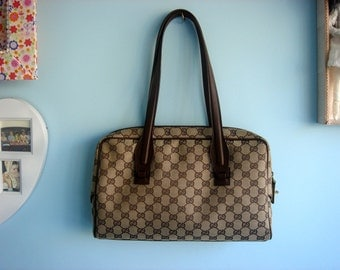 Vintage GUCCI Bag, Monogram Logo in Brown and Beige Gucci Bags, Authentic Gucci GG made in Italy