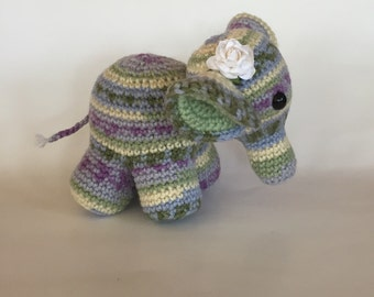 Sweet Little Crocheted Elephant - Ready to Ship - Nursery decor -  Amigurumi