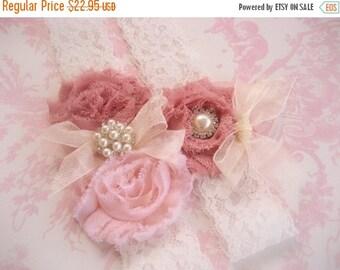 SUMMER SALE Wedding Garter, Vintage Bridal Garter,  Toss Garter  Dusty Rose, Ivory with Rhinestones and Pearls  Custom Wedding colors