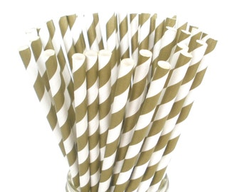 Gold Stripe Paper Straws Metallic Gold Paper Drinking Straws Weddings Birthdays Anniversary