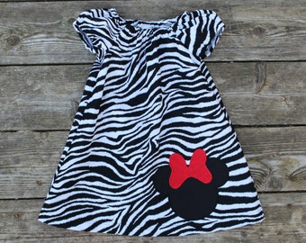 Black and white Zebra Print Girl's Infants Toddlers Peasant Dress -  Personalized Minnie Mouse Applique