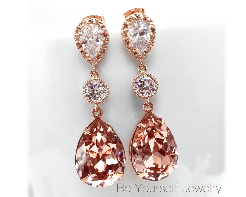Blush Bridal Earrings Rose Gold Bride Earrings Soft Pink Wedding Jewelry Swarovski Vintage Rose Teardrop Earring Pastel Pink Bridesmaid Gift