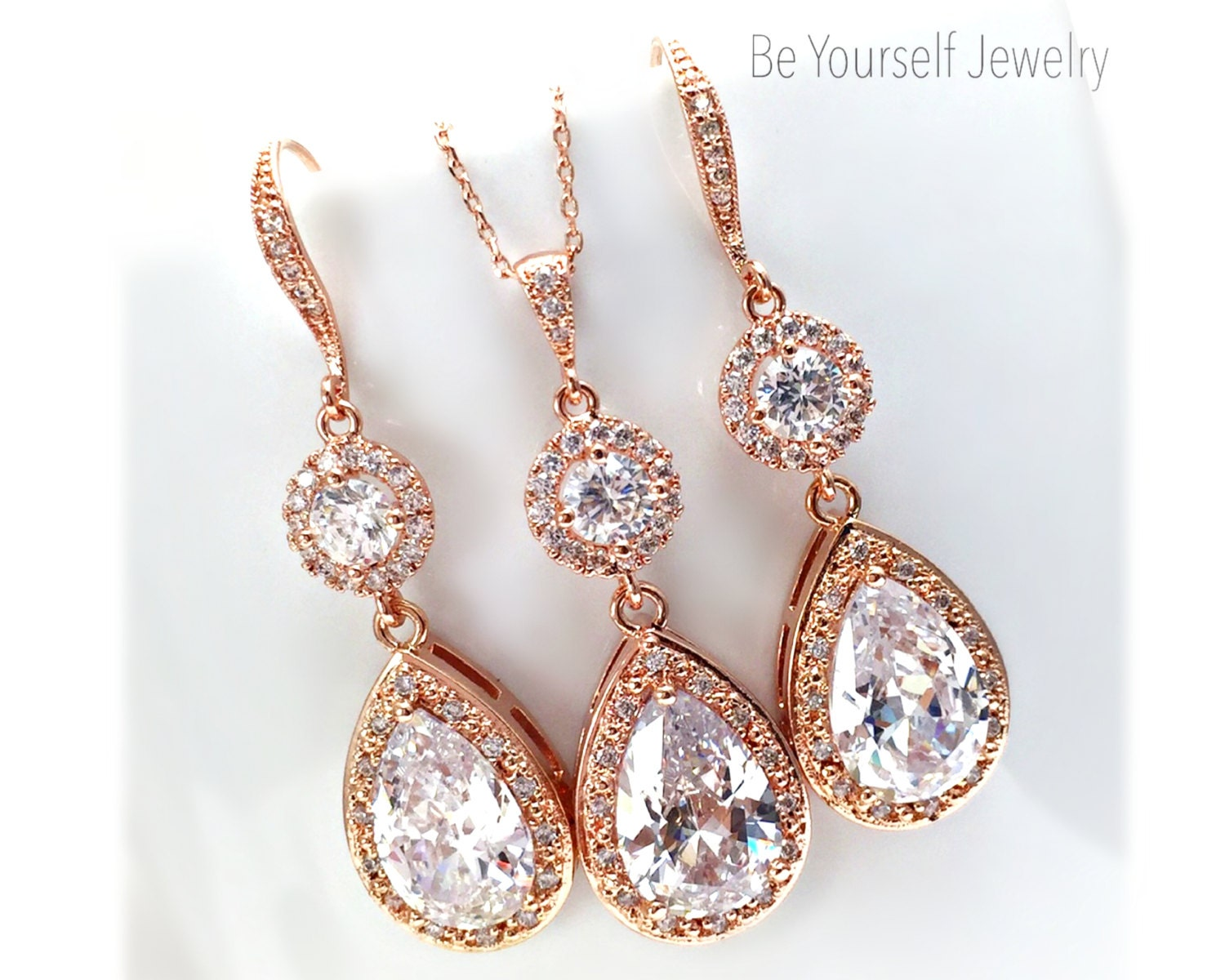 Rose Gold Bridal Earrings White Crystal Teardrop Bride Necklace Cubic Zirconia Wedding Jewelry Pink Gold Bridesmaid Gift CZ Wedding Earrings