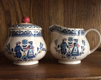 Vintage Cream and Sugar Set by Johnson Brothers in the Hearts and Flowers Pattern made in England