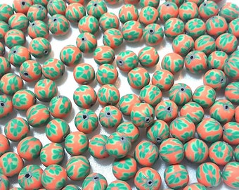 20 Fimo Polymer Clay Round Beads Orange green flower beads 12mm