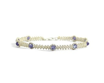 Tanzanite Crystal Anklet  - Silver Chain Anklet - Bead Ankle Bracelet - Beaded Jewelry - Seed Bead Anklet - Foot Jewelry