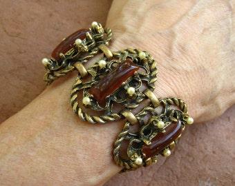 Vintage Selro Bracelet Brown Lucite Cabochons Faux Pearl Wide Oval Panels