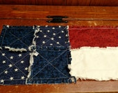 Rag Quilt Table Runner 17 x 9  Primitive Americana Flag Candle Mat Stars and Stripes Handcrafted in Pa Ready to Ship USA Free Shipping