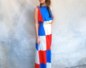 Vintage 60s red white and blue grecian color block maxi dress / swimsuit coverup / gown - 1960s flowing graphic long dress - Medium