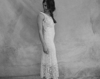 1930s silk lace wedding dress / jacket- 30s delicate white sheer bias long dress- small