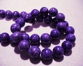 Fossil Beads Purple Round 10mm