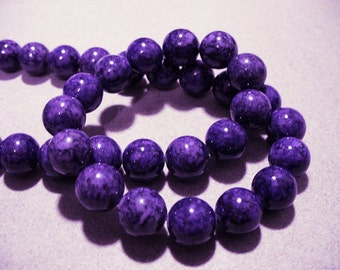 Fossil Beads Purple Round 10mm