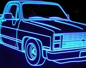 1984 Chevy Pickup Truck Acrylic Lighted Edge Lit LED Sign 84 Plaque VVD1 Full Size USA Original
