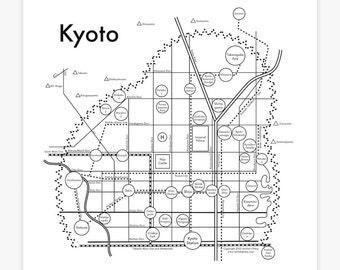 Kyoto Map Screenprint 17.5x17.5